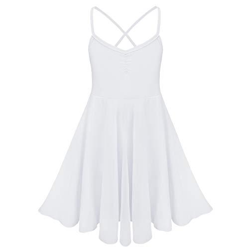 CHICTRY Camisola Vestido de la Danza del Ballet lírico Leotardo con Volantes de Gasa Faldas 10 años 8-10 años Blanco