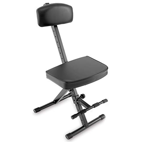 Pyle Padded Bench-Guitar/Keyboard Performer and DJ Deluxe Seat w/Adjustable Backrest, Non-Slip Rubber Feet, Extra Thick Foam Cushion PKST74