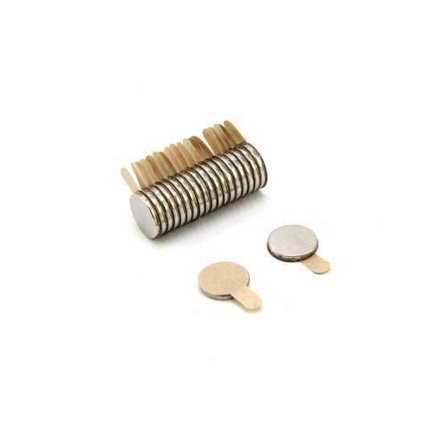 First4magnets F322SAT-20 8mm Durchmesser X 1 mm N35 Easypeel Klebstoff Neodymmagneten - 0,39 kg ziehen (Süd) (Packung mit 20), silver, 25 x 10 x 3 cm, Stück