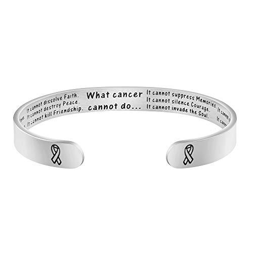 Breast Cancer Survivor Gifts for Women Inspirational Bracelet Secret Message Engraved Mantra Cuff Bangle Cancer Awareness Strength Jewelry