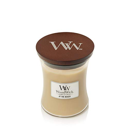 Woodwick Medium Hourglass Scented Candle | At the Beach | with Crackling Wick | Burn Time: Up to 60 Hours, At the Beach