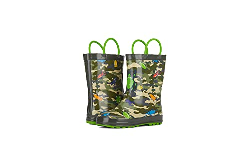 AQUAKIX Toddler Rain Boots for Boys - Green Bug Waterproof Rubber Rainboots with Easy-On Handles (Green, Size 9)
