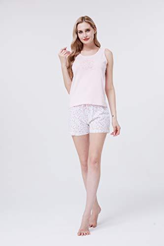 PimpamTex – Pijama de Verano para Mujer, Conjunto 2 Piezas Camiseta de Tirantas y Pantalón Corto, 100% Algodón Suave y Transpirable, Diseños Originales y Divertidos (S, Mijita Blanco)