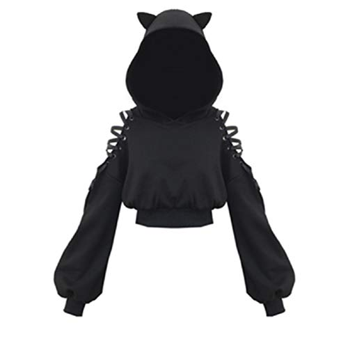 YEMOCILE Damen Cat Ears Black Hoodie Langarm Kapuzenpullover Sweatshirt Hollow Out Gothic Tops Bluse M Schwarz