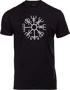 Vegvisir | Nordic Viking Rune Compass Norse Germanic Icelandic Pagan Magic Symbol T-Shirt- Adult,XL  Black