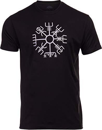 Vegvisir | Nordic Viking Rune Compass Norse Germanic Icelandic Pagan Magic Symbol T-Shirt-(Adult,XL) Black