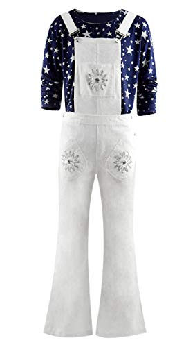 Skycos Elton John Costume Shirts 2019 Halloween Cosplay Disco Casual Flares Pants Shirts Set Outfit (Small, White)