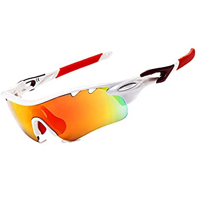 JOGVELO Polarized Sports Sunglasses,Cycling Glasses Men UV400 with 5 Interchangeable Lenes, Red&White