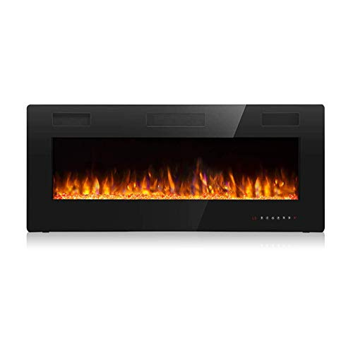 Vitesse 42 inch Wall Mounted and Recessed Electric Fireplace, Adjustable Flame Color and Speed Fireplace Heater Fit for 2 x 4 and 2 x 6 Stud with Touch Screen Control Panel, Remote Control,750-1500W
