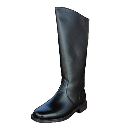 QINHE Knight Riding High Boots Reitschuhe Leder Outdoor Biker Stiefel Round Toe Parade Stiefel Casual Side Zipper Western Style Arbeitsschuhe,Black-44