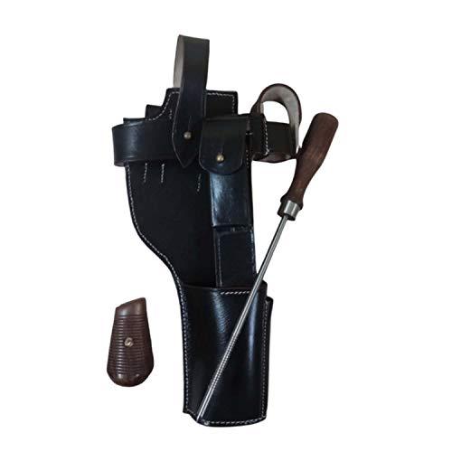 warreplica Deutsch C96 Broomhandle Mauser Dunkelbraun Leder Holster mit Reinigungsstab + Handgriffe - Reproduktion