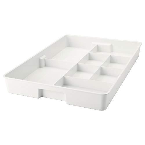 Inserto con 8 compartimentos blanco, montado, tamaño: 53 cm de largo, 36 cm de ancho, 6 cm de alto, materiales de plástico PET