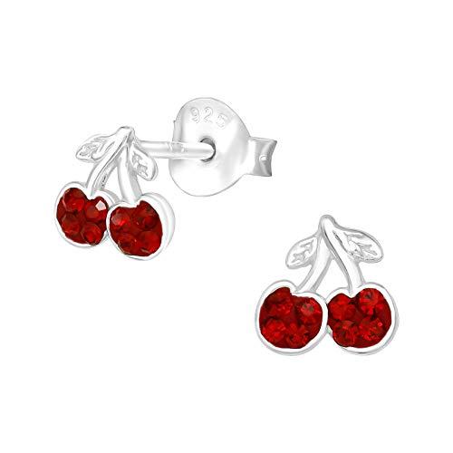 The Rose & Silver Company Women 925 Sterling Silver Cherry Stud Earrings