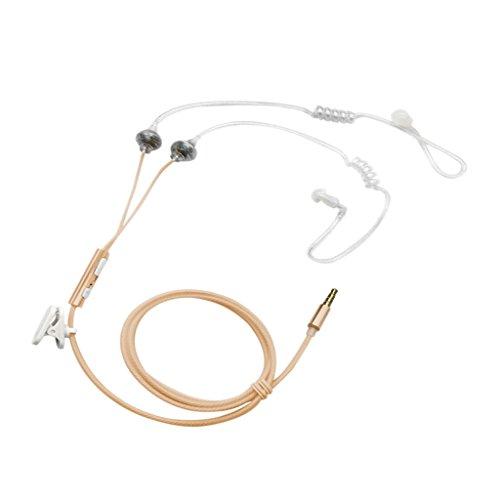 MagiDeal 3.5mm Tubo de Aire Rizado Doble En Auriculares Oído Anti-radiación Auriculares Micrófono - Oro