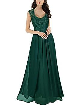 Miusol Women s Casual Deep- V Neck Sleeveless Vintage Wedding Maxi Dress