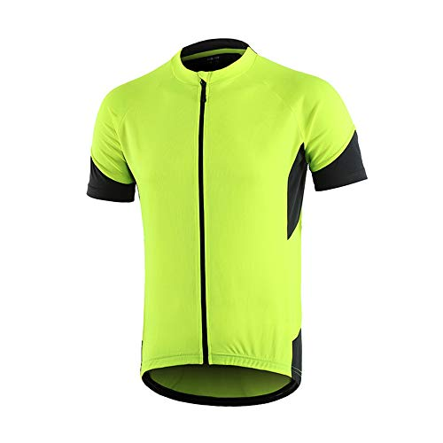 Dooy Cycling Bike Jersey Men Short Sleeve Biking Shirts with 3+1 RearPockets, Breathable Quick Dry Bicycle Jerseys (Yellow, XL)
