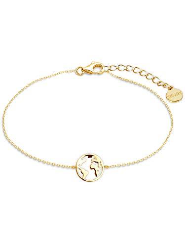 XENOX XS3165G Damen Armband Welt Erde Sterling-Silber 925 Gold 18,5 cm