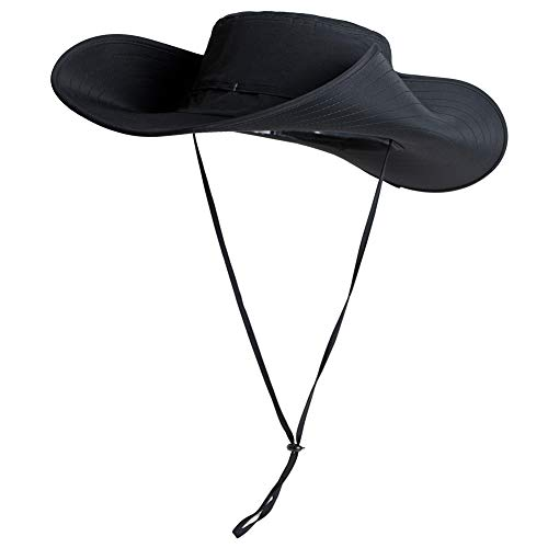 UPF 50 Cappelli da sole a tesa larga, in rete, protezione UV, protezione da safari, pesca, passeggiate, trekking, boonie, cappelli da uomo, impermeabile e traspirante 007481_nero M