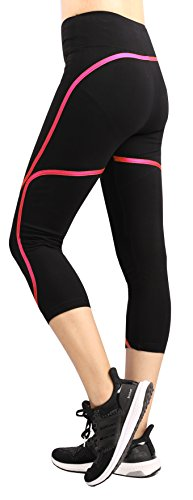Sugar Pocket Pantalones Capri Negro para Mujer Running Clase de Yoga
