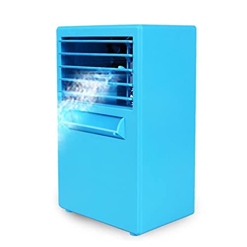 Flashing Mini ventilador de aire acondicionado personal portátil de verano, aire acondicionado, enfriador de aire evaporativo, humidificador de ventilador de refrigeración de escritorio de nebulizació