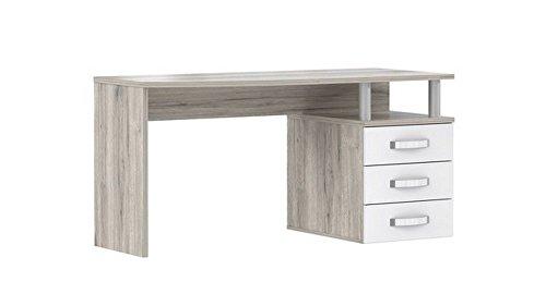 RDIB211-T30 Rondino Schreibtisch PC Tisch Arbeitstisch Bürotisch Sandeiche Nb. / weiss glanz