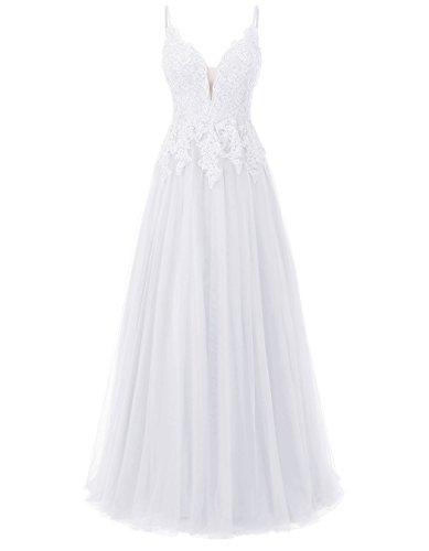 Carnivalprom Damen Spitze Abendkleider Für Hochzeit Elegant Brautkleid Spaghetti-Träger Ballkleider(Weiß,44)