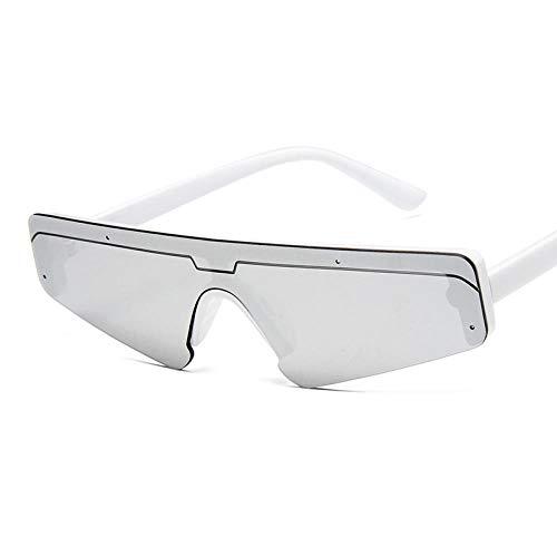 DLSM Gafas de Sol Gafas de Sol cuadradas Mujeres clásicos Vintage Triangle Marco Calle al Aire Libre Apto para al Aire Libre Senderismo Gafas de Sol Gafas de Sol-Plata Blanca