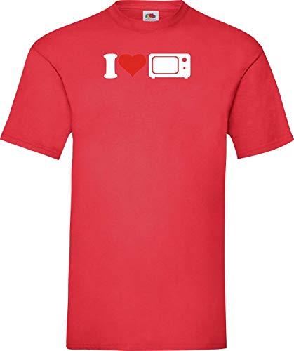 Shirtinstyle Camiseta de Hombres i Love Microondas Essen Cocinar Backen - Rojo,...