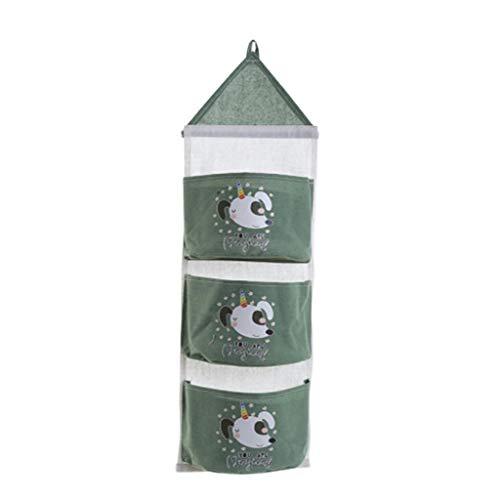 HXSJ A Wandspeicher 3-Tasche Baumwolle Und Leinen Wand-Aufbewahrungstasche, Geeignet for Schlafzimmer Hauptdekoration Hängender Beutel (Color : B)