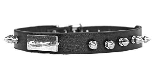 Collier en cuir de qualité supérieure - Pour homme - En acier inoxydable - Noir - Style gothique punk - Simple - Rare