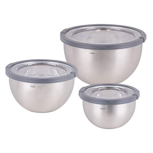 Mari Chef Satz von 3 Rührschüsseln Edelstahl - Enthält Salatschüsseln von 1L, 2.5L, 4.5L - Behälter mit Rutschfester Silikonbasis & Deckel - Perfekt zum Backen, Salaten und Lagern