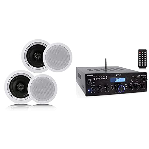 """Pyle Pair 6.5"""" Flush Mount in-Wall in-Ceiling 2-Way Home Speaker System Spring Loaded White & Wireless Bluetooth Power Amplifier System - 200W Dual Channel Sound Audio Stereo Receiver"""