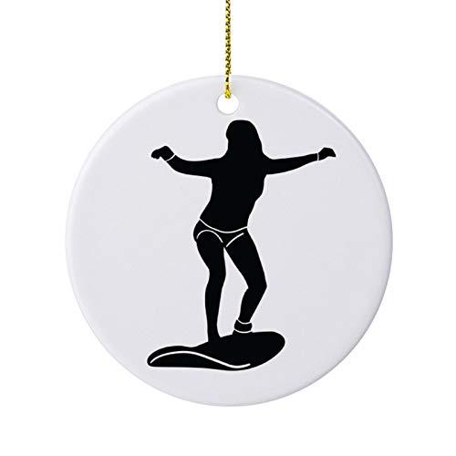 qidushop Silueta deportiva detallada para surfear adornos navideños de cerámica redonda para árbol de Navidad colgante recuerdo de 7,6 cm