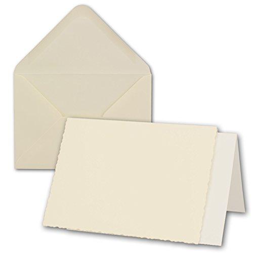 50x Creme-weißes DIN A6 Falt-Karten-Set mit Bütten-Rand-Schnitt & Brief-Umschlägen & Einlege-Blätter I 10,4 x 14,8 cm I Papier-Bastel-Set inklusive hochwertiger Box I Gustav NEUSER®