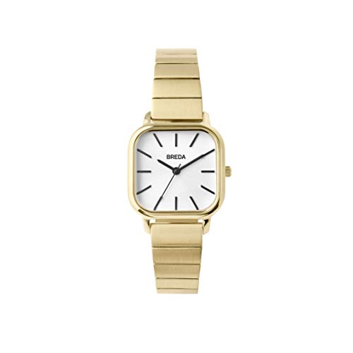 BREDA Esther 1735e Square Gold Wrist Watch with Gold-Plated Stainless Steel Bracelet, 26mm