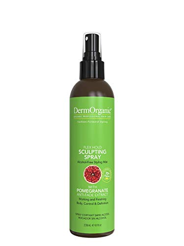 DermOrganic Flex Hold Sculpting Spray for Hair with Pomegranate Anti-Fade Extract - Alcohol-Free Styling Mist, 8 fl.oz