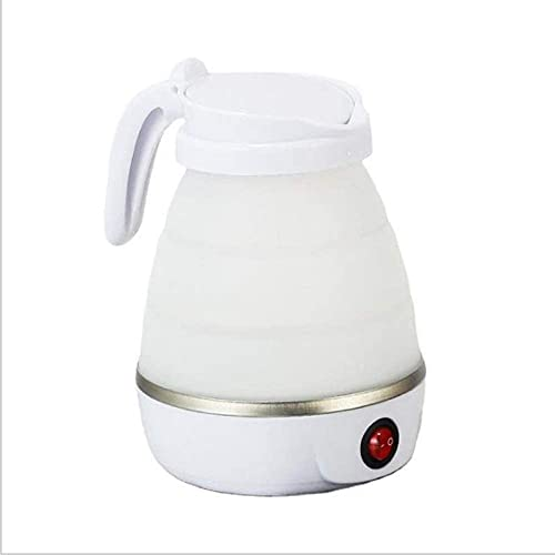 Silicone Electric Kettle, 0.6 L Travel Kettle, Foldable Kettle with Stainless Steel Base, Foldable Silicone Camping Kettle, Automatic 110 V/220 V Dual Voltage 600 W 600 ml (White)