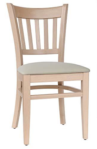 abritus Set 2 Stühle Küchenstuhl Esszimmerstuhl Buche massiv Natur Polster Creme T002