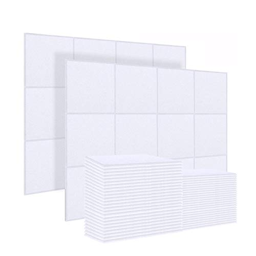 DEKIRU 20 Pack Acoustic Panels Sound Dampening Panels,12 X 12 X 0.4 Inches Sound Proof Padding Beveled Edge,Good for Soundproofing and Acoustic Treatment(white)
