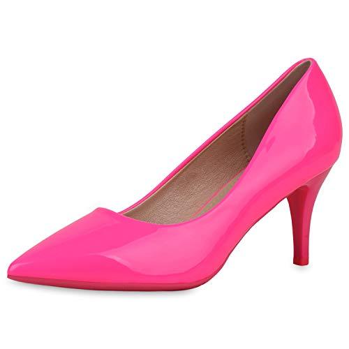 SCARPE VITA Damen Spitze Pumps Stiletto Mid Heels Lack Schuhe Party Abendschuhe Elegante Absatzschuhe 187671 Neon Pink 38