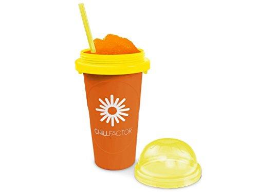 Slushy Maker Chillfactor Magic Freez | Slush Ice Becher mit Strohhalmlöffel | Eisbecher Glas Alternative für Eis selber machen | Slush Ice Maker Orange