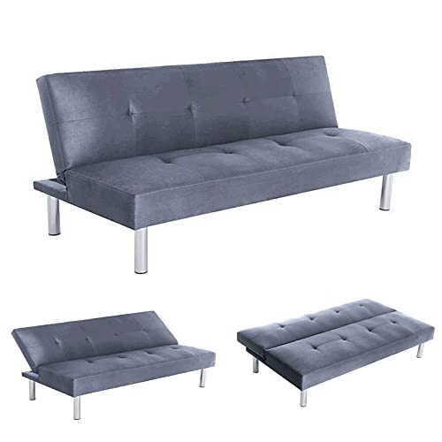 Shoze Sofa Bed Double 2 Seater Couches Modern Thick Sofa Recliner Soft Adjustable Comfort Compact Seat Furniture Gray Fabric Metal Feet Sofa Bed Recliner Bench 3 Seater Sofas For Living Room Bedroom