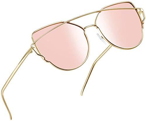 Joopin Polarisierte Sonnenbrille Damen Vintage und Retro Cateye Sonnenbrille Rosa, Metallrahmen Groß Katzenaugen Sonnenbrille Pink Verspiegelt