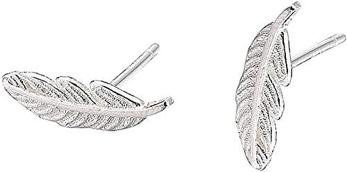 HUIQ Lindo Único Lucky Little Plather 925 Sterling Silver Pendientes Pendientes Pendientes de Pluma para Mujeres Hoja Stud Pendientes para Mujeres Adolescentes para Mujeres .-Pendiente de Perno