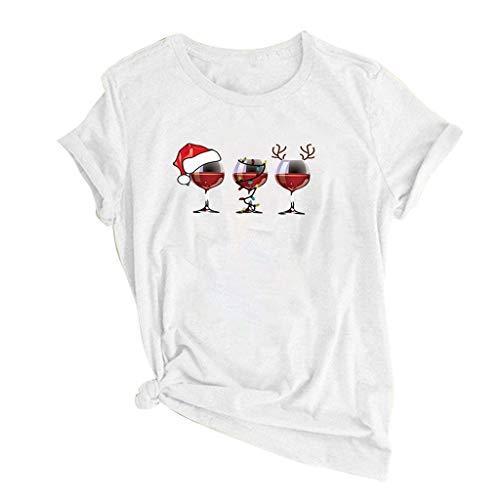 DYXYH Copa de Vino Impreso T Shirt T Shirt Mujer Modelo de Navidad O-Cuello Manga Corta Camiseta Casual Ropa de Damas (Color : White, Size : L Code)