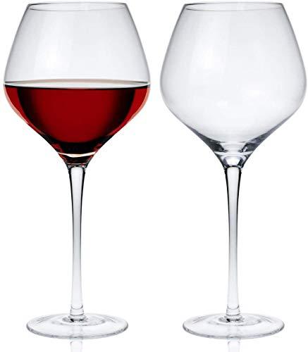 Lawei 2 Stück Rotweingläser Burgunder Rotweinkelche Kristallglas Hochwertig Weinglas Bleifrei Rotweinglas - 620ml