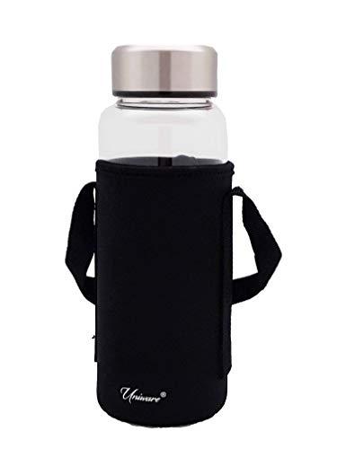 Uniware Premium 700ml Borosilicate Glass Water Bottle (Black)