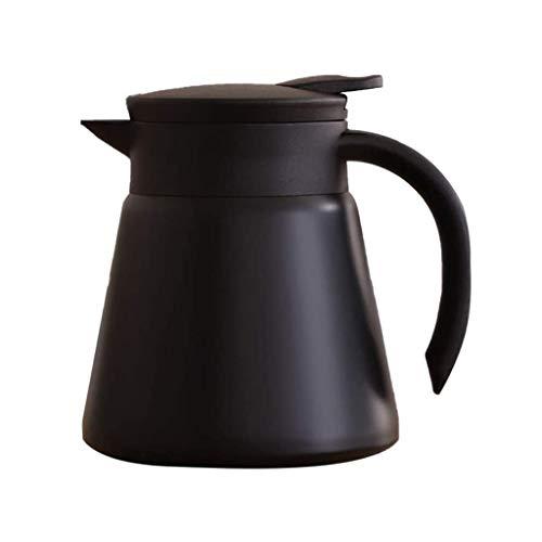 YWSZJ Capa de Acero Inoxidable de Doble Caldera del Agua del pote del café Caliente fría la Bebida de la Botella Jarra for el hogar Camping (Color : Black)
