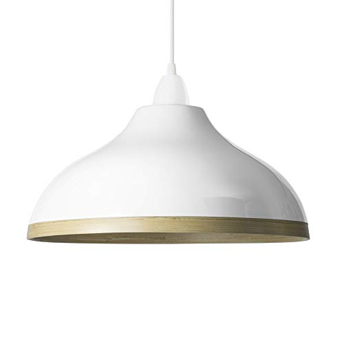 Handmade Bamboo Pendant Ceiling Lampshade with Gloss Lacquer Exterior (Style: Wave, White)