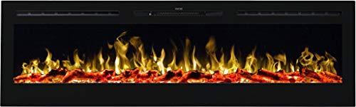 AFLAMO Majestic - Chimenea eléctrica de pared (750 W o 1500 W), simulación de fuego LED, profundidad de solo 14 cm (165 x 54 x 14)